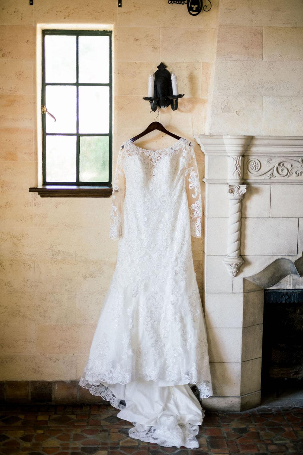 Classic White Mermaid Style Lace Wedding Dress with Illusion Sleeves, Bateau Neckline