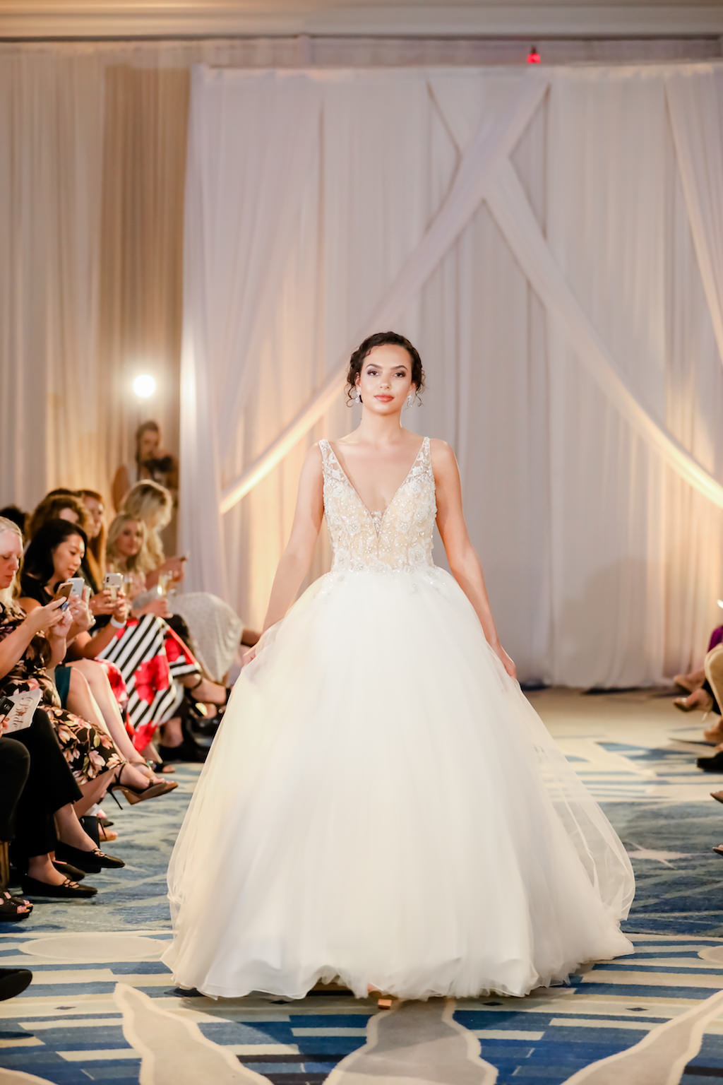 Romantic Ivory Ballgown, Beaded Low-Neck Fitted Bodice, Full Tulle Skirt   Truly Forever Bridal   The Ritz Carlton Sarasota   Tampa Bay Wedding Photographer Lifelong Photography Studios