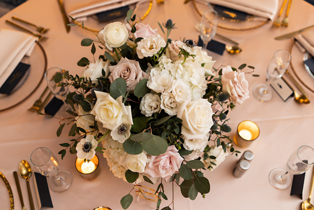 Romantic Garden Inspired Low Floral Centerpiece with White Hydrangeas, Blush Pink Roses, Thistle and Greenery   Over The Top Rentals   Tampa Bay Florist Bruce Wayne Florals   Florida Wedding Planner Parties A La Carte