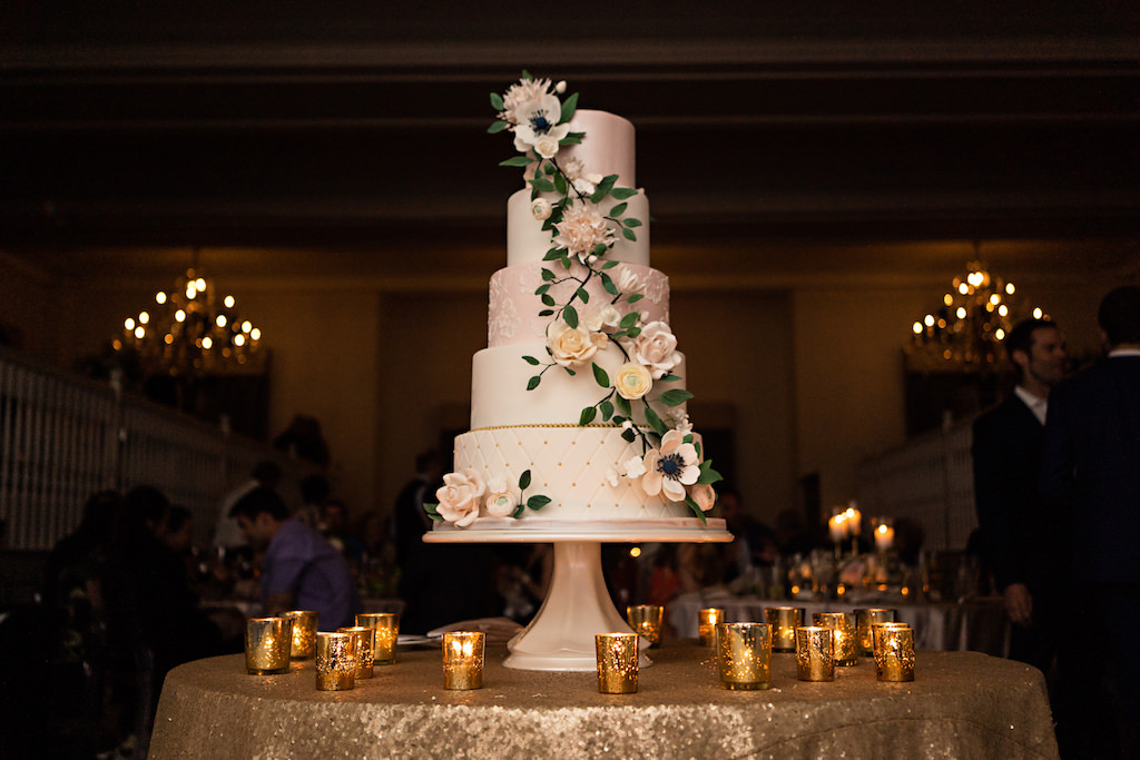 Romantic Garden Inspired Five Tier Blush Pink White And Gold