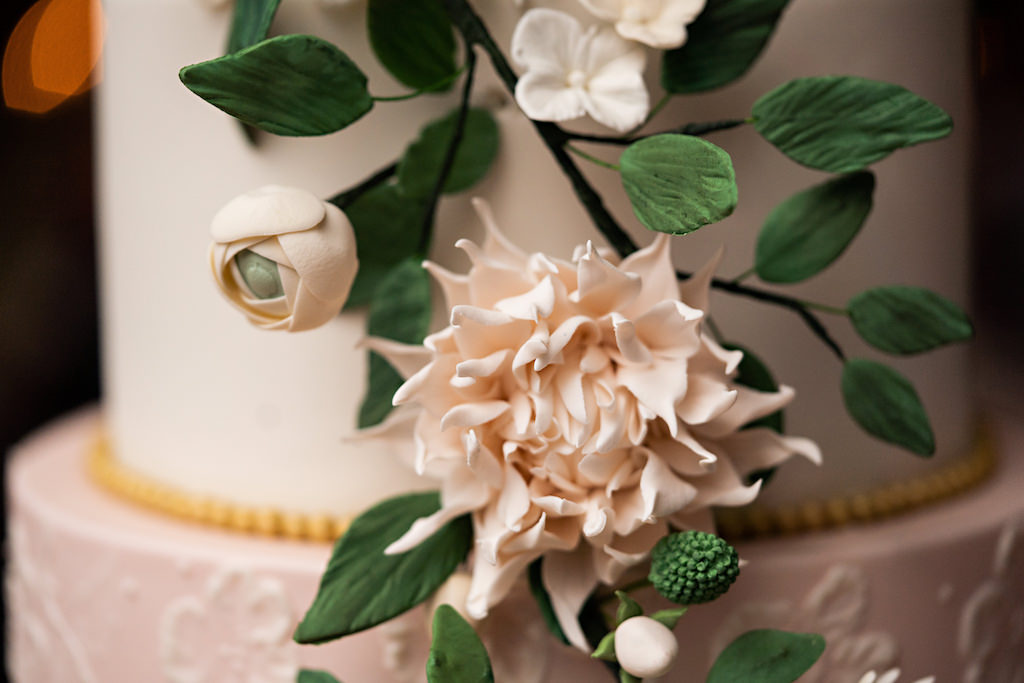 Romantic Garden Inspired Cake Detail, Blush Pink Edible Flower with Greenery