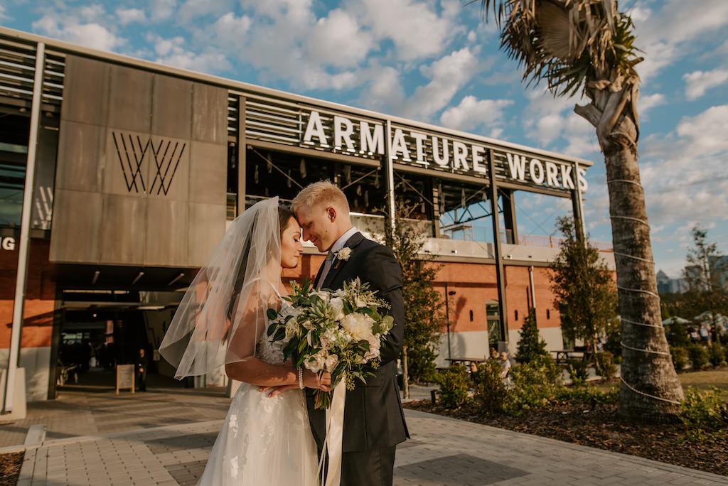 Outdoor Tampa Bay Bride and Groom Modern Wedding Portrait   Florida Wedding Venue Armature Works