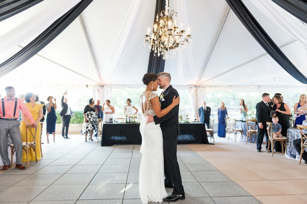 Florida Bride and Groom During Outdoor Reception First Dance | Historic Hyde Park Wedding Venue Epicurean Hotel in South Tampa | Tampa Bay Wedding Photographer Andi Diamond Photography