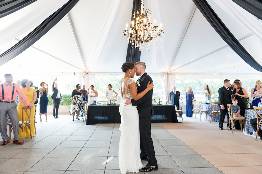 Florida Bride and Groom During Outdoor Reception First Dance   Historic Hyde Park Wedding Venue Epicurean Hotel in South Tampa   Tampa Bay Wedding Photographer Andi Diamond Photography