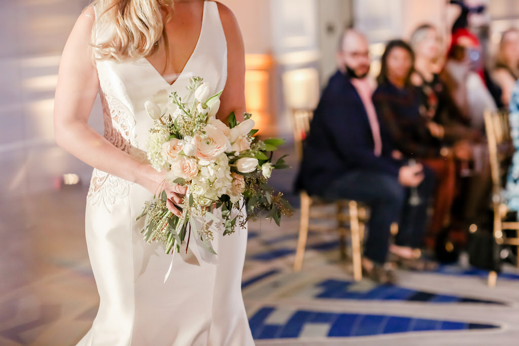 Unique Floral Bridal Bouquet, White, Blush Pink, Peach Flowers, Greenery   Tampa Bay Wedding Photographer Lifelong Photography Studios