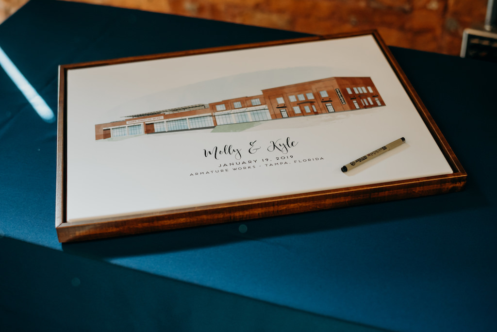 Modern Wedding Reception Guest Book, Custom Watercolor Venue Design   Tampa Bay Wedding Venue Armature Works