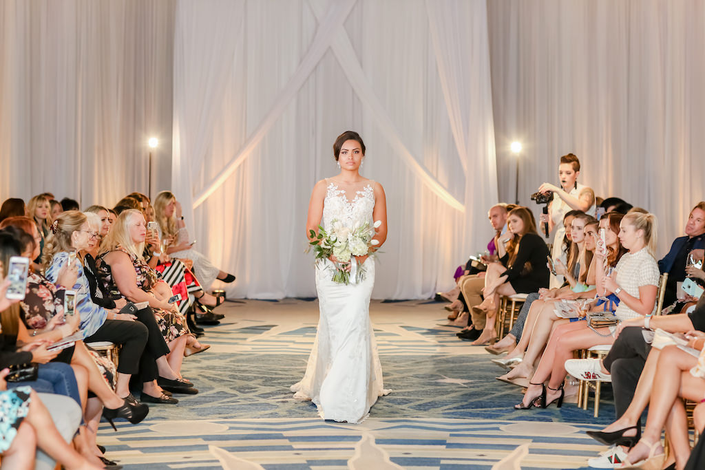 Florida Bride in Illusion Lace Neckline, Fitted Wedding Dress, Carrying Ivory, Blush Pink Floral Bouquet with Greenery   Truly Forever Bridal   The Ritz Carlton Sarasota   Tampa Bay Wedding Photographer Lifelong Photography Studios   Planner NK Weddings
