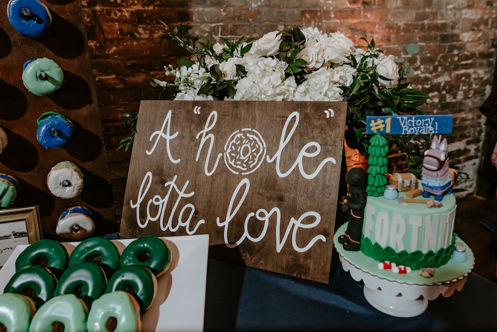 Modern Desert Table, Navy, Sage and Dark Green Donut Wall, A Hole Lotta Love Wooden Sign, Fortnite Grooms Cake