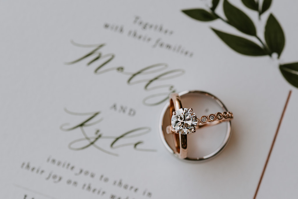 Solitaire Round Diamond Rose Gold Engagement Ring and Wedding Band