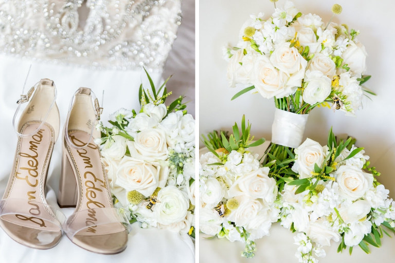 Sam Edelman Bridal Shoes, White, Ivory and Blush Pink Floral Wedding Bouquet, Yellow Bumble Inspired Flowers | Tampa Bay Wedding Photographer Andi Diamond Photography