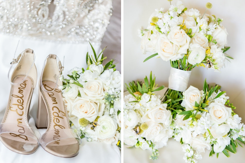 Sam Edelman Bridal Shoes, White, Ivory and Blush Pink Floral Wedding Bouquet, Yellow Bumble Inspired Flowers   Tampa Bay Wedding Photographer Andi Diamond Photography
