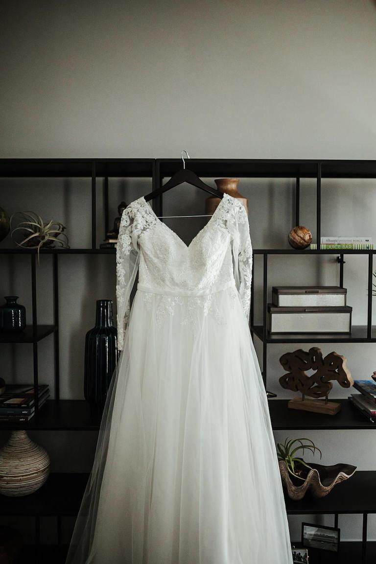 Elegant A-Line Wedding Dress, Lace Illusion Sleeves, Tulle Skirt