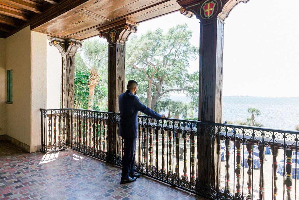 Florida Groom overlooking Powel Crosley Estate in Sarasota