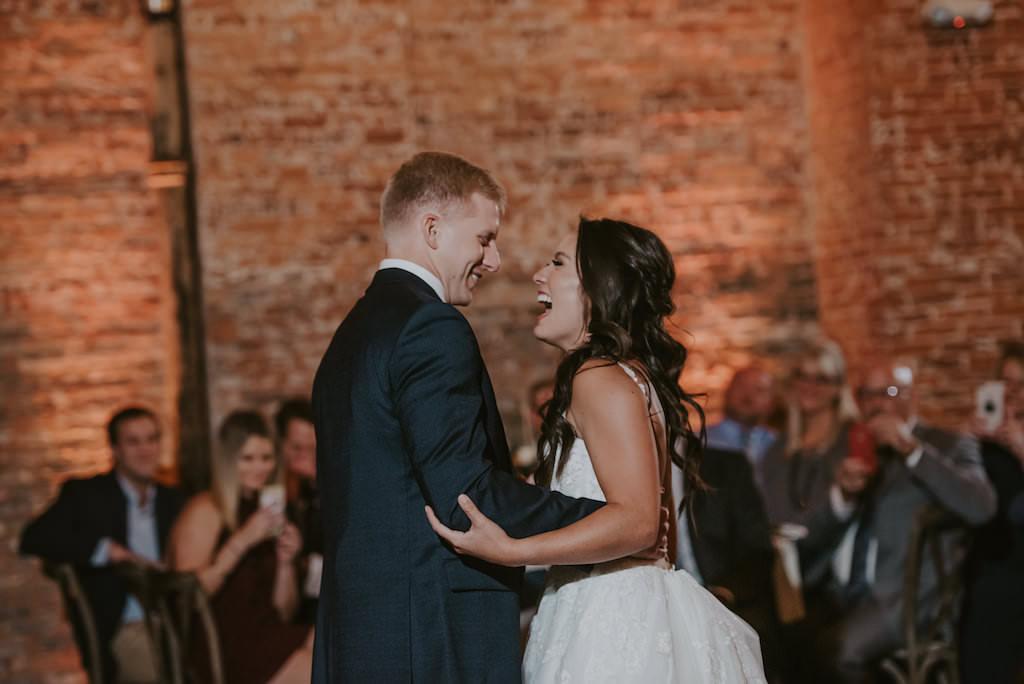 Tampa Bay Bride and Groom First Dance Wedding Reception Portrait, Florida Wedding Venue Armature Works, The Gathering