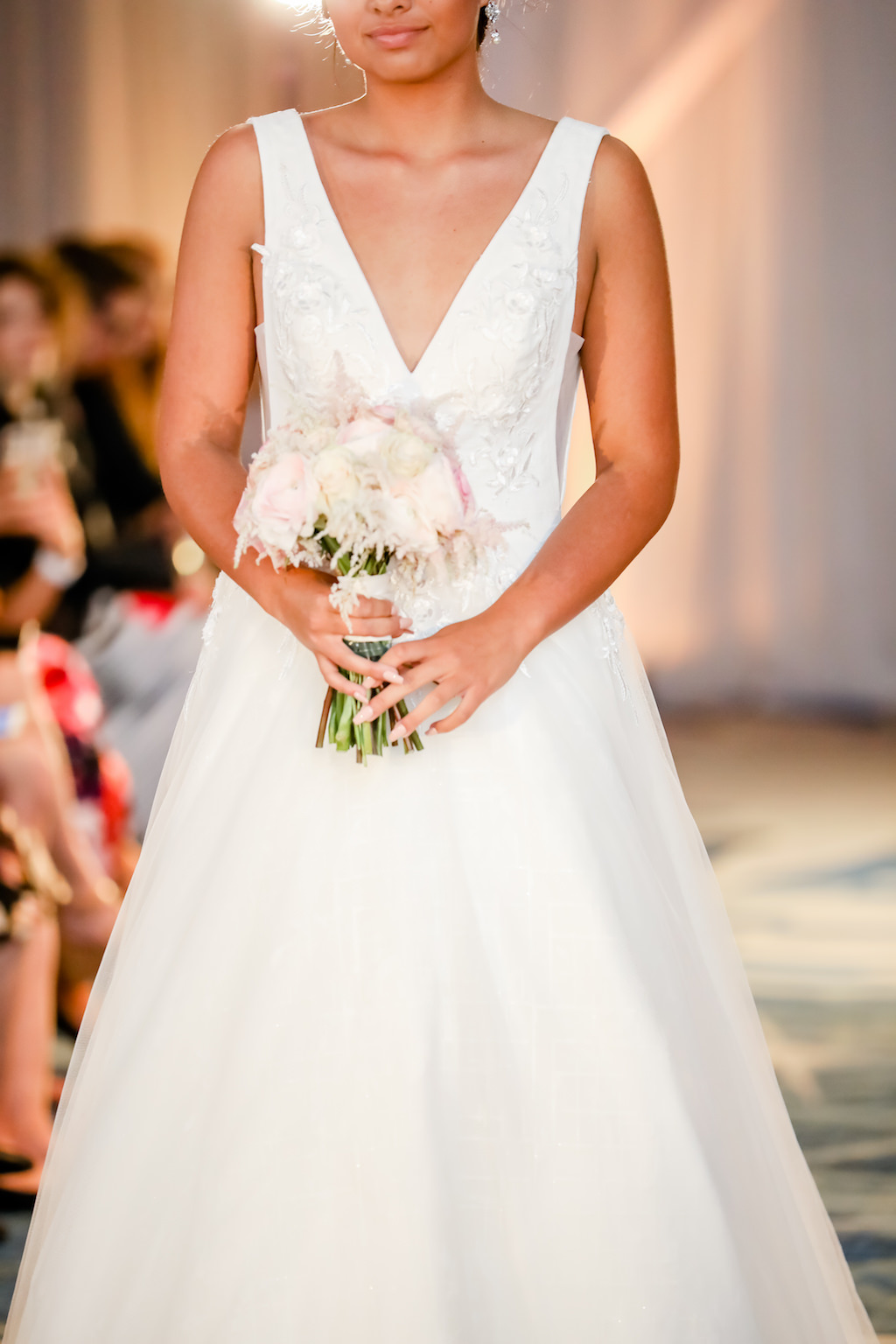 Elegant, White, Low Neck, A-Line Wedding Dress, Carrying Ivory and Blush Pink Floral Bouquet   Designer Matthew Christopher   Truly Forever Bridal   The Ritz Carlton Sarasota   Planner NK Weddings
