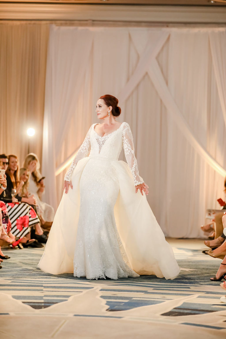 Extravagant, White Fit-and-Flare Wedding Dress, Full Tule Skirt Overlay, Illusion Lace Sleeves | Designer Matthew Christopher | Truly Forever Bridal | The Ritz Carlton Sarasota | Planner NK Weddings