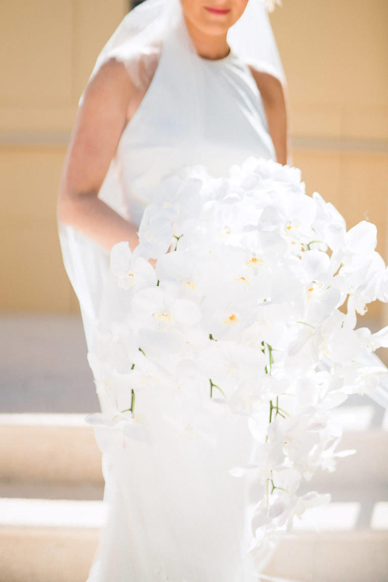 Clean, Timeless, White Orchid, Cascade Wedding Bouquet