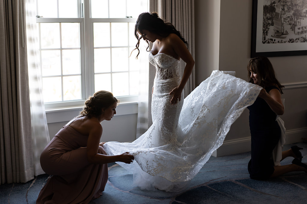 Bridal Getting Ready Portrait, Tampa Bride in White Berta Mermaid Style Floor Length Berta Wedding Dress with Fitted Sheer Bodice with Sweetheart Neckline