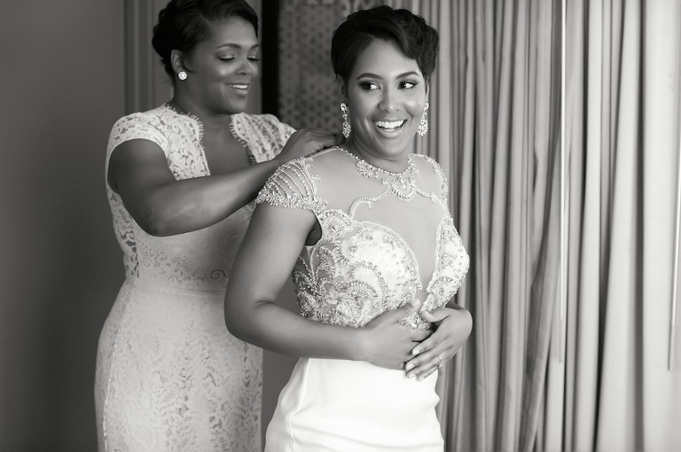 Florida Bride and Mother Getting Ready, Bride in Cap Sleeve Beaded Detailed Wedding Dress, Sheer Top, Plunging Neckline | Tampa Bay Wedding Photographer Andi Diamond Photography