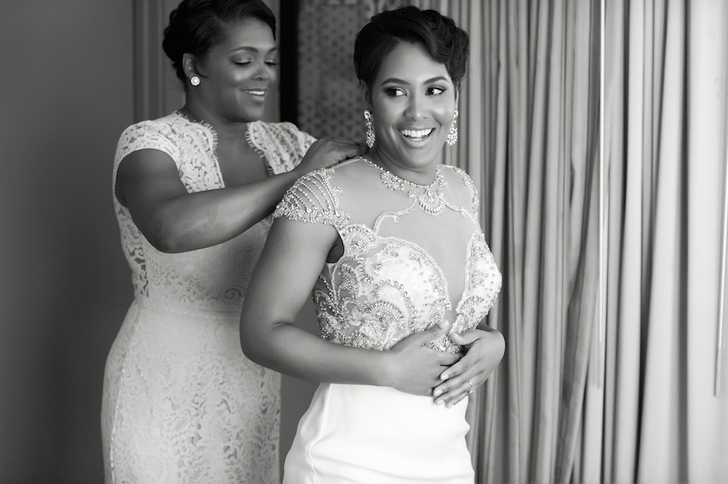Florida Bride and Mother Getting Ready, Bride in Cap Sleeve Beaded Detailed Wedding Dress, Sheer Top, Plunging Neckline   Tampa Bay Wedding Photographer Andi Diamond Photography