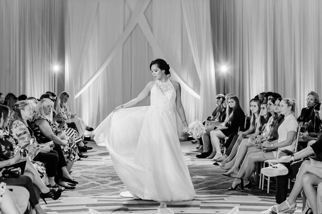 Romantic, Halter Neckline, A-Line Style Lace Illusion Wedding Dress   Designer Matthew Christopher   Truly Forever Bridal   The Ritz Carlton Sarasota   Planner NK Weddings