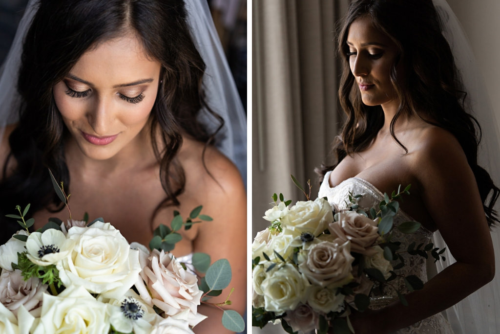 Bridal Portrait with Romantic White and Blush Pink Rose Floral Bouquet with Greenery   Tampa Bay Wedding Florist Bruce Wayne Florals   Florida Makeup and Hair Artist Femme Akoi