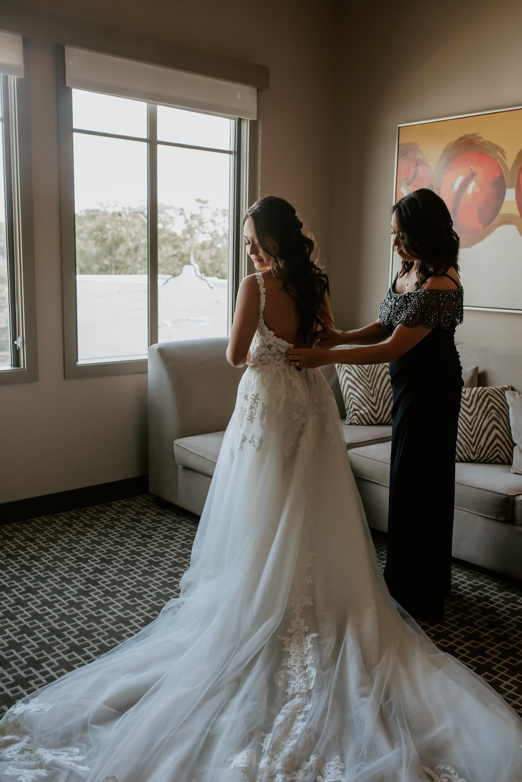 Florida Bride and Mother Getting Ready Photo, Open Back White Wedding Dress