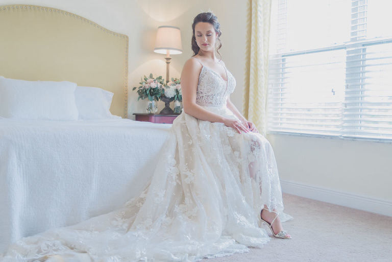 Elegant Florida Bridal Portrait, Bride In White V Neck, Lace 3D Floral Appliques, Beaded A-Line Style Calla Blanch Wedding Dress | Tampa Bay Bridal Shop Nikki's Glitz and Glam Boutique