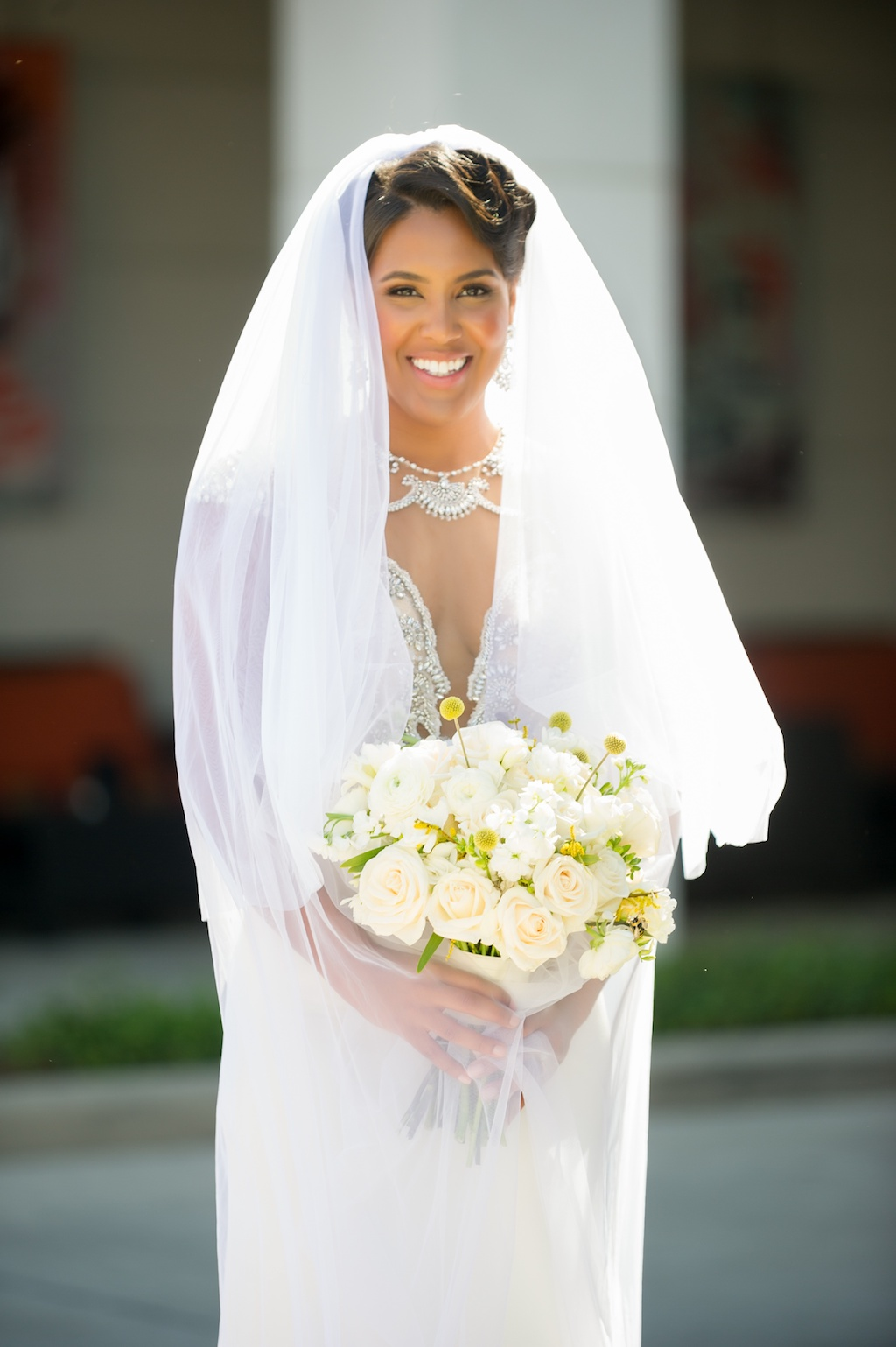 Modern, Elegant Florida Bridal Portrait, Bride in Long Veil, Holding Blush Pink, Ivory and White Floral Wedding Bouquet, Yellow Bumble Inspired Flowers, Historic Hyde Park in South Tampa   Tampa Bay Wedding Photographer Andi Diamond Photography