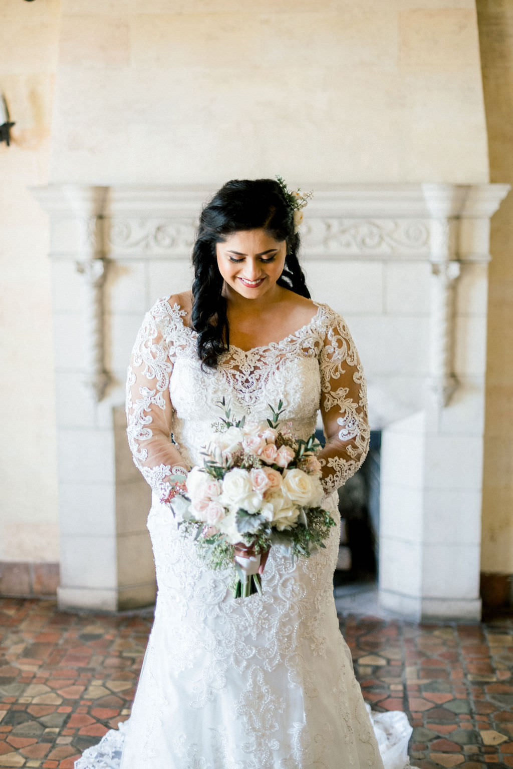Sarasota Bride in Elegant White Lace Mermaid Style Wedding Dress with Illusion Sleeves and Bateau Neckline, Ivory, Blush Pink Floral Bouquet, with Greenery, Powel Crosley Estate