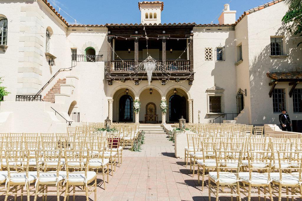 Elegant, Vintage Inspired Outdoor Wedding Ceremony, at Powel Crosley Estate, Chandelier, Gold Chivari Chairs | Sarasota Wedding Planner Laura Detwiler Events