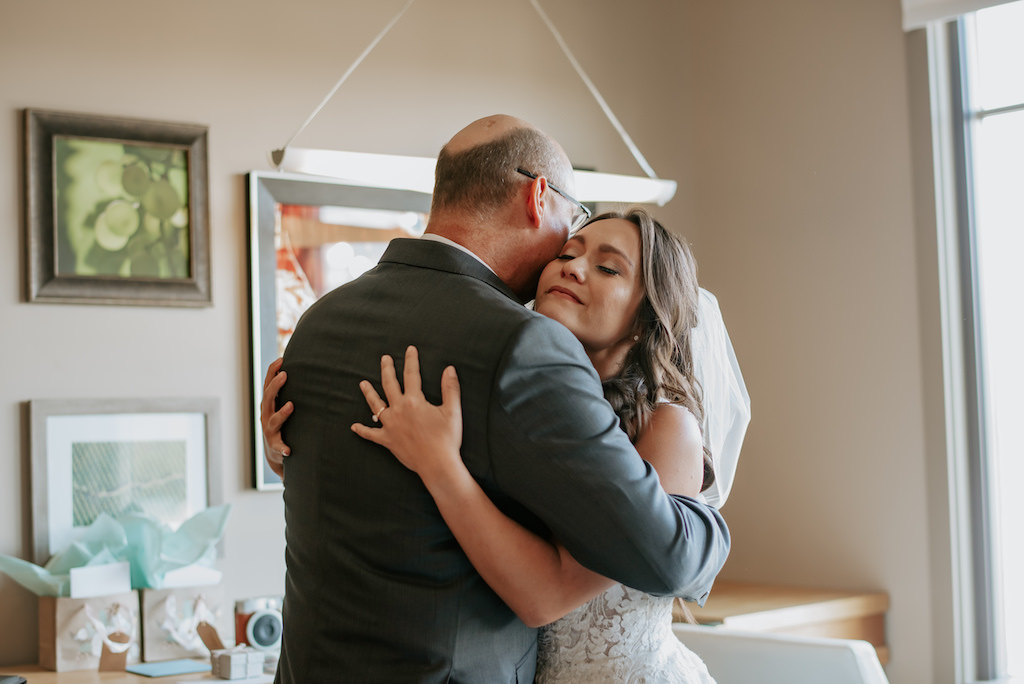 Florida Bride and Father Hug Wedding Portrait, First Look with Dad