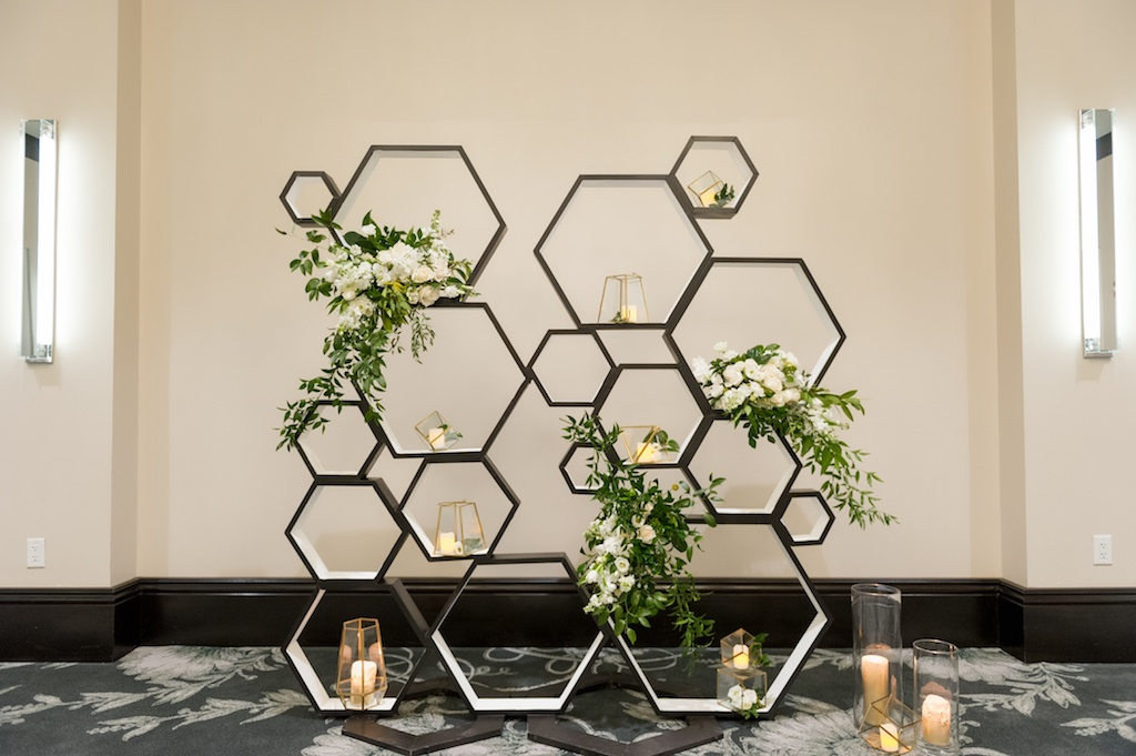 Modern, Geometric Black, White, and Gold, Bumble Bee Inspired, Wedding Decor, Ivory and Blush Pink Floral Arrangements with Greenery, Candlelit Ceremony Backdrop, Historic Hyde Park Wedding Venue Epicurean Hotel in South Tampa   Tampa Bay Wedding Photographer Andi Diamond Photography