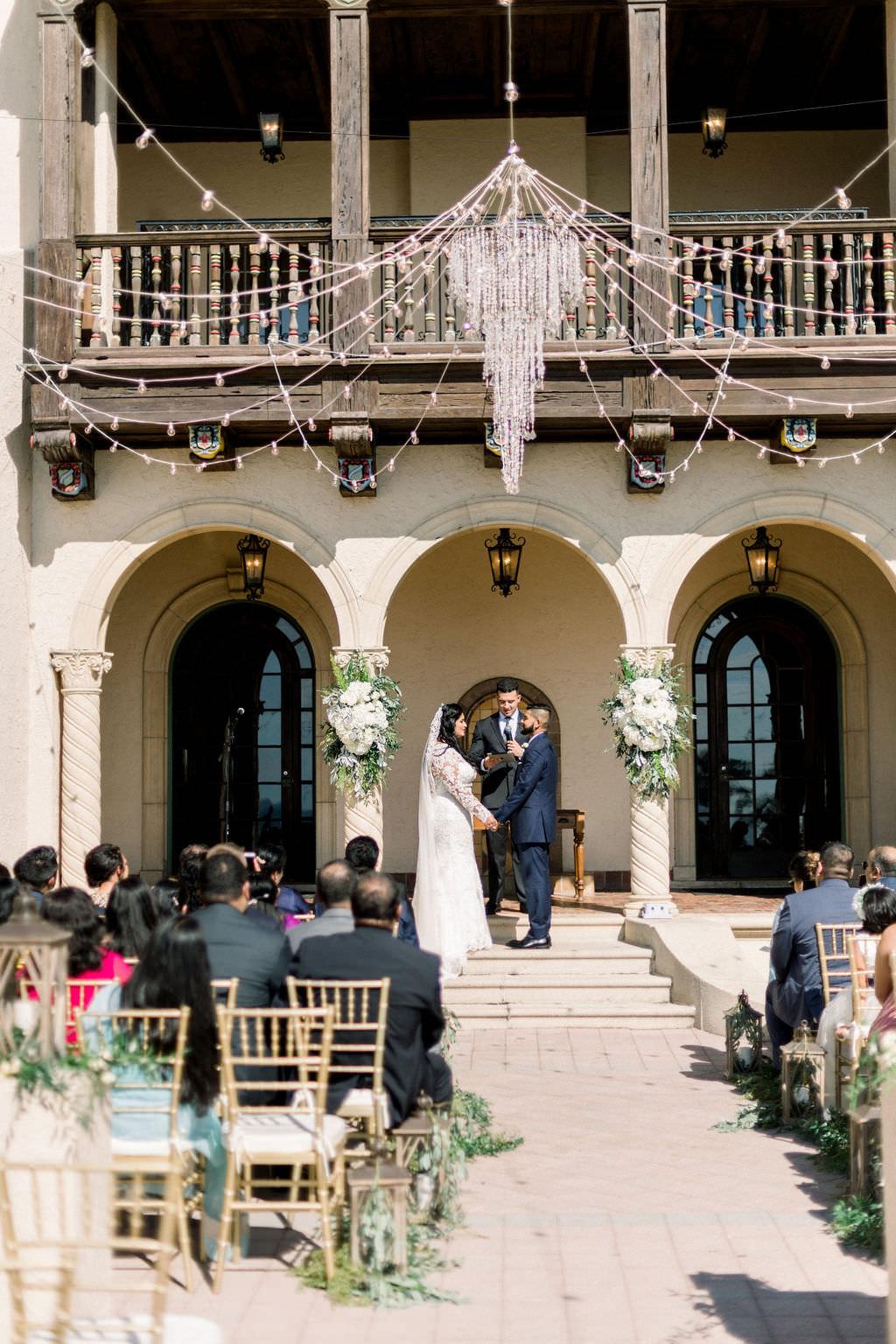 Elegant Powel Crosley Estate Wedding Ceremony, Outdoor Chandelier with String Lighting, Sarasota Wedding Planer Laura Detwiler Events