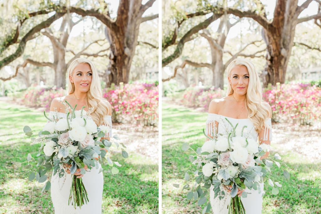 Tampa Bay Outdoor Boho Chic Bride Wedding Portrait in Off Shoulder with Tassle White Wedding Dress Holding Organic White, Ivory, Blush Pink Floral and Greenery Bouquet | Hair and Makeup Artist LDM Beauty Group