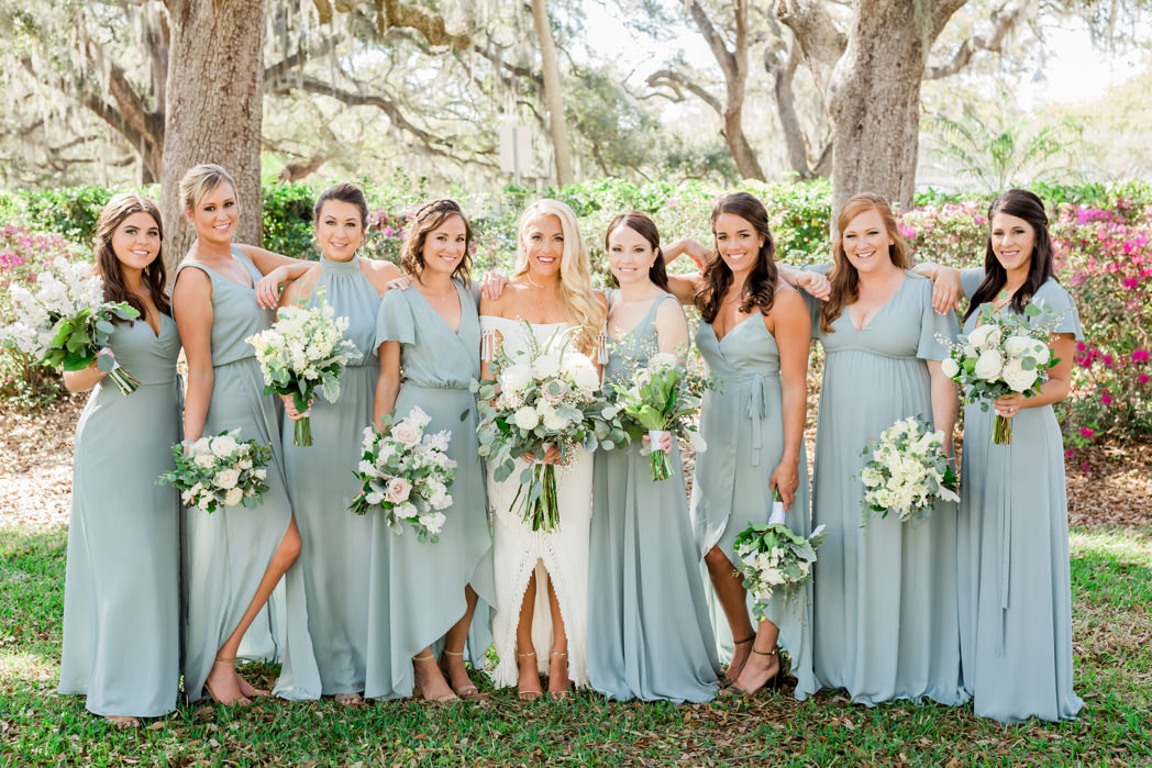 Boho Chic Inspired Bride And Bridesmaids In Mismatched Dusty Blue Long Dresses With Organic White Ivory Blush Pink Floral And Greenery Bouquets Bridal Party Portrait South Tampa Wedding Hair And Makeup