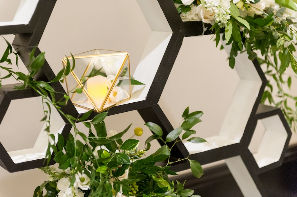 Modern, Geometric Black, White, and Gold, Bumble Bee Honey Inspired, Wedding Decor, Ivory and Blush Pink Floral Arrangements with Greenery, Candlelit Ceremony Backdrop, Historic Hyde Park Wedding Venue Epicurean Hotel in South Tampa   Tampa Bay Wedding Photographer Andi Diamond Photography