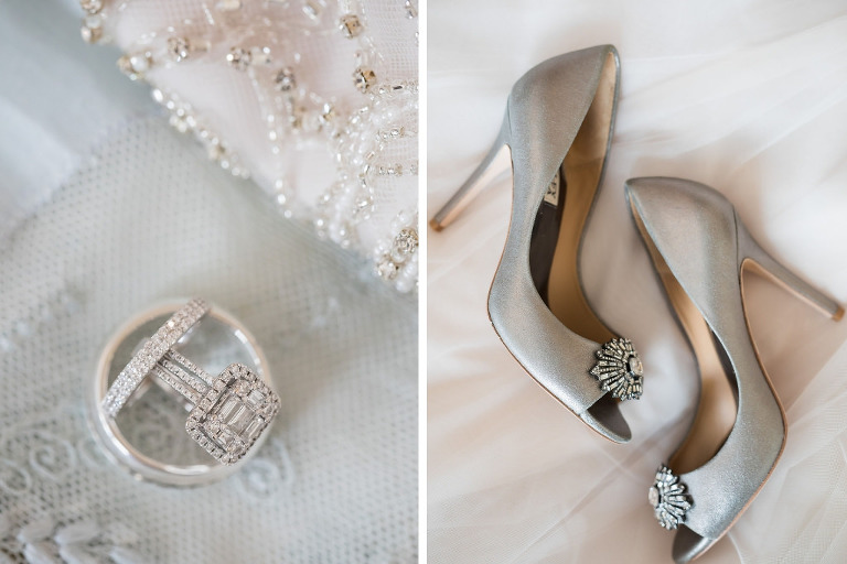 Engagement Ring and Bride and Groom Wedding Bands, Silver Peep Toe Heel Wedding Shoes with Rhinestone Brooch Accent