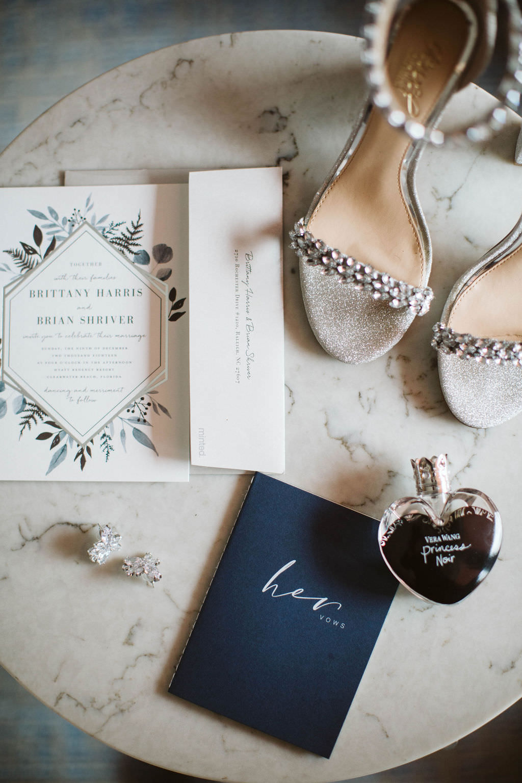 Bride Wedding Accessories, Navy Blue Vows Book, Peep Toe Silver and Rhinestone Strappy Wedding Heel Shoes, Boho Inspired Wedding Invitation, Wedding Jewelry and Perfume