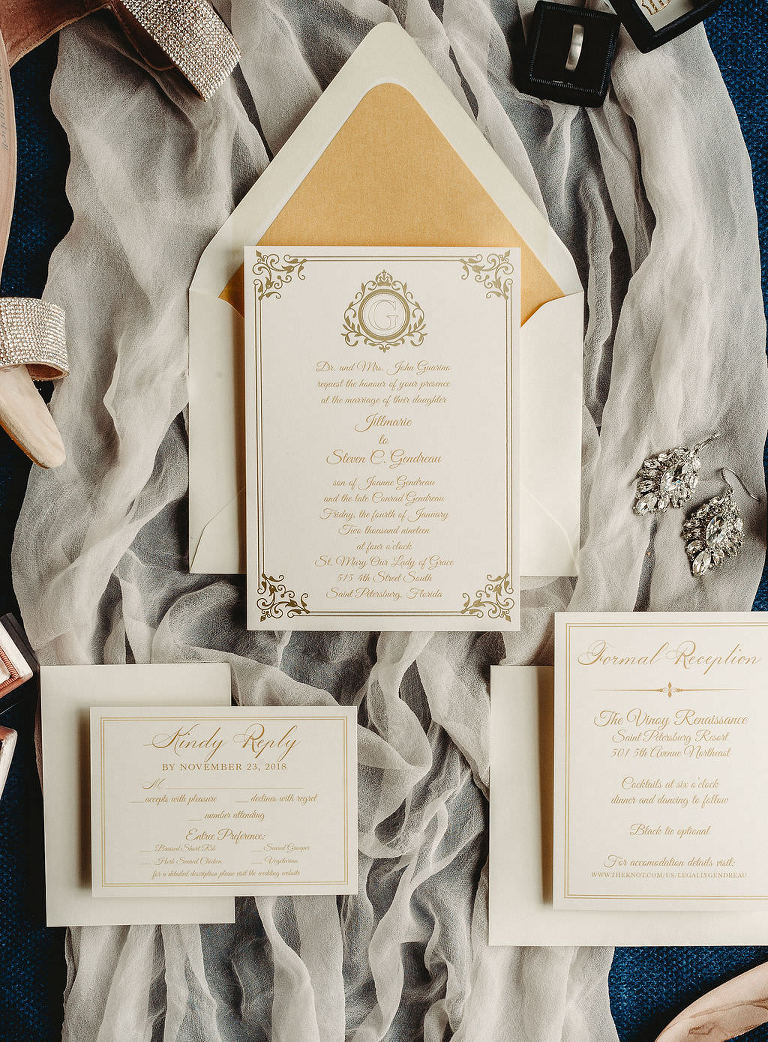Classic Traditional Gold and Ivory Wedding Invitation Suite Flat Lay with Veil