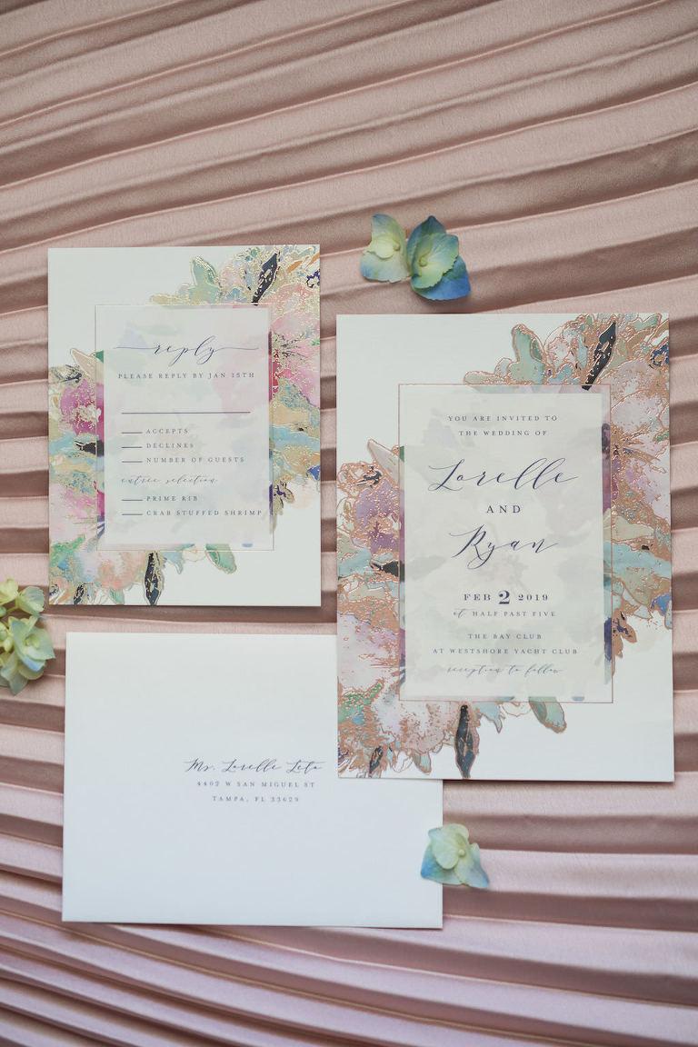 Watercolor Floral Elegant Wedding Invitation Suite