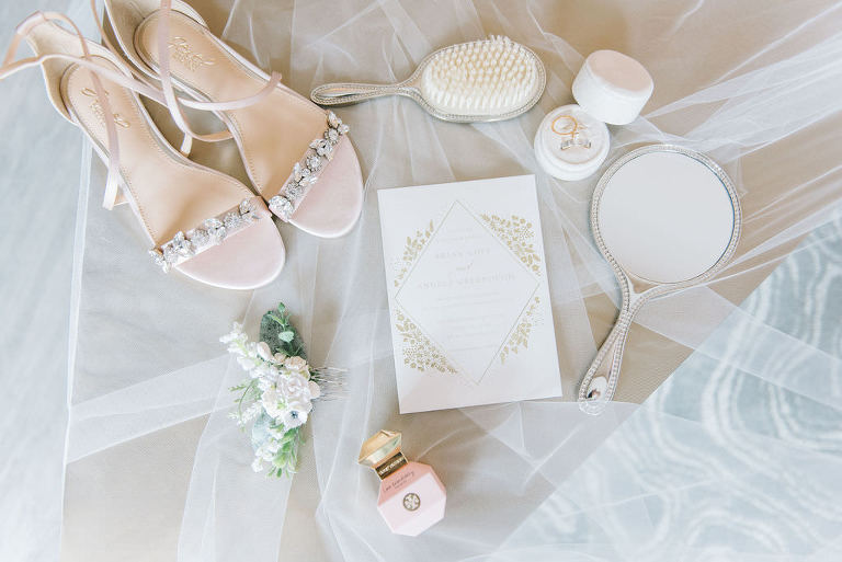 Modern, Elegant Bridal Accessories, White and Gold Invitation, Nude Sandal and Rhinestone Wedding Heel Shoes, White Floral Hair Pin, Tampa Bay Wedding Photographer Kera Photography
