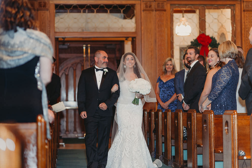 St. Pete Bride and Father Walking Down the Wedding Church Ceremony Aisle