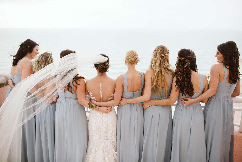 Tampa Bay Bride and Bridesmaids Wedding Portrait, Bridesmaids in Matching Dusty Blue Long Dresses