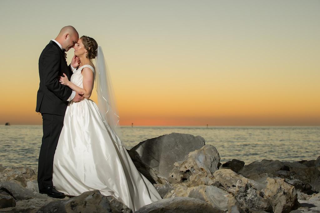 Bride and Groom Sunset Wedding Portrait | Clearwater Beach Wedding Photographer Andi Diamond Photography | Tampa Bay Hair and Makeup Artist Femme Akoi Beauty Studio