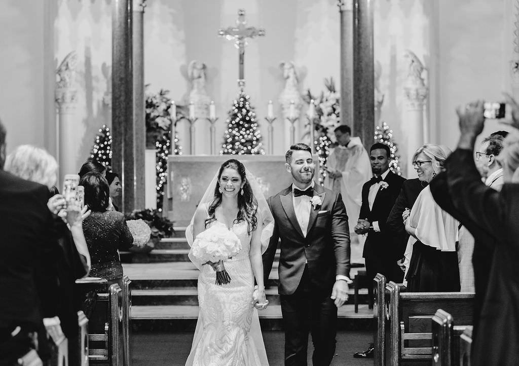 Florida Bride and Groom Traditional Church Wedding Ceremony Portrait   Tampa Bay Wedding Ceremony Venue St. Mary Catholic Church