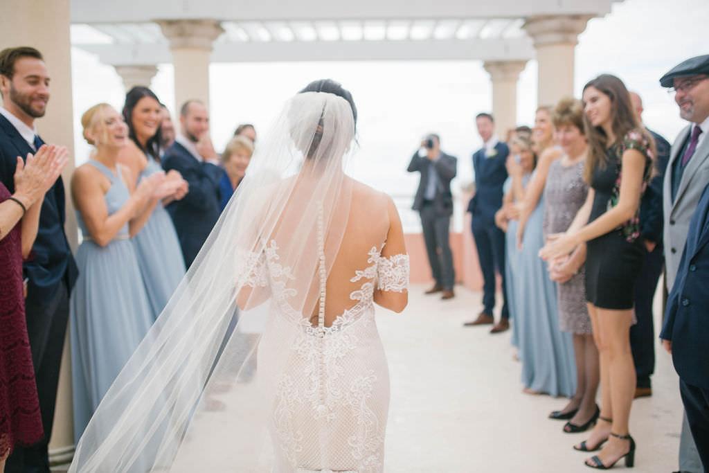 Florida Bride Walking Down the Wedding Ceremony Aisle Portrait