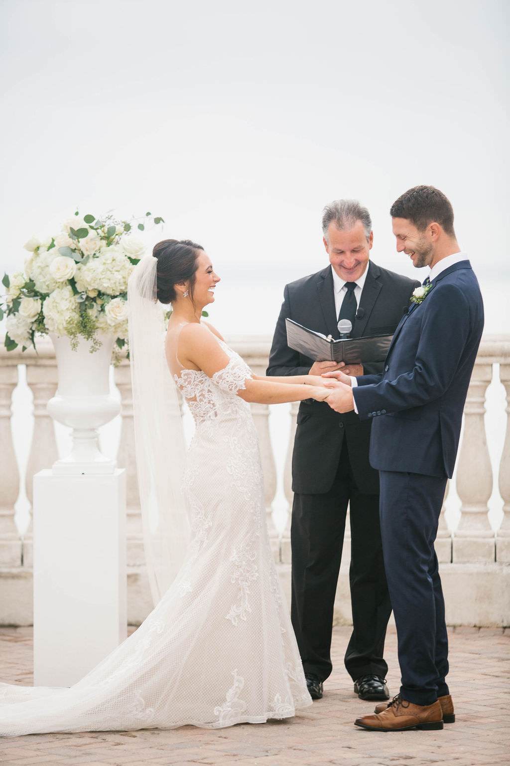 Florida Bride and Groom Exchanging Wedding Vows During Ceremony Portrait