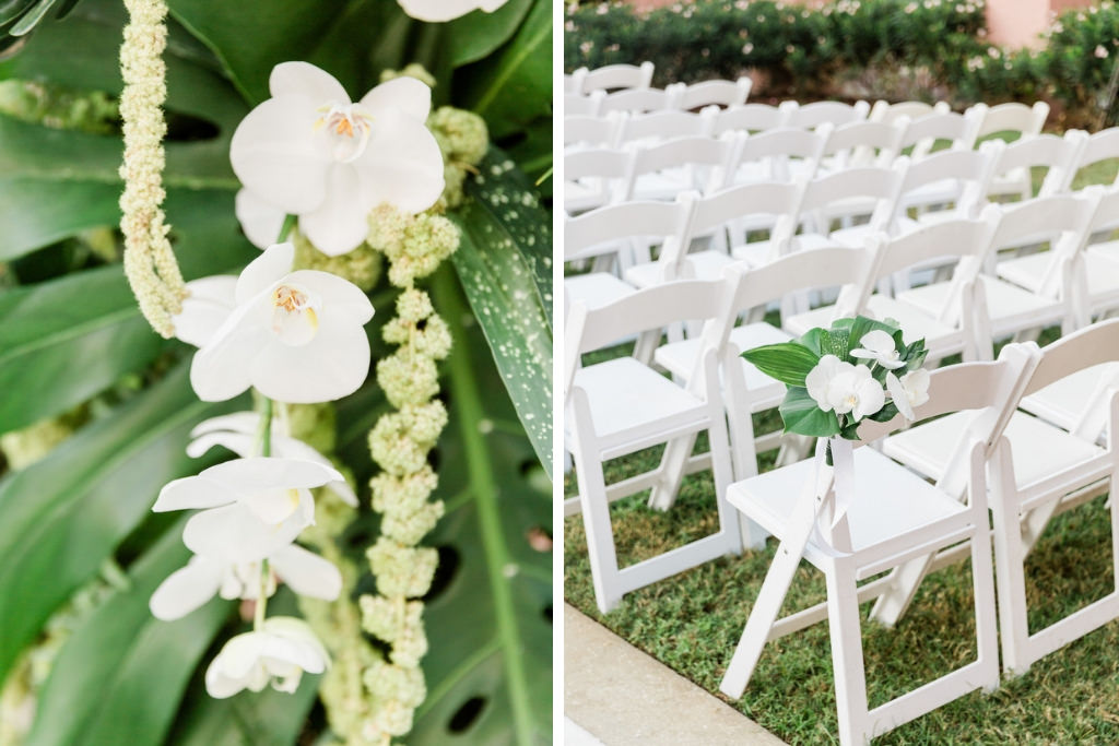 St. Pete Garden Wedding Ceremony, White and Green Florida Inspired Tropical Decor, White Orchids, Monstera leaves, White Folding Chairs | Tampa Bay Florist Bruce Wayne Florals | Florida Luxury Wedding Planner Parties A'La Carte