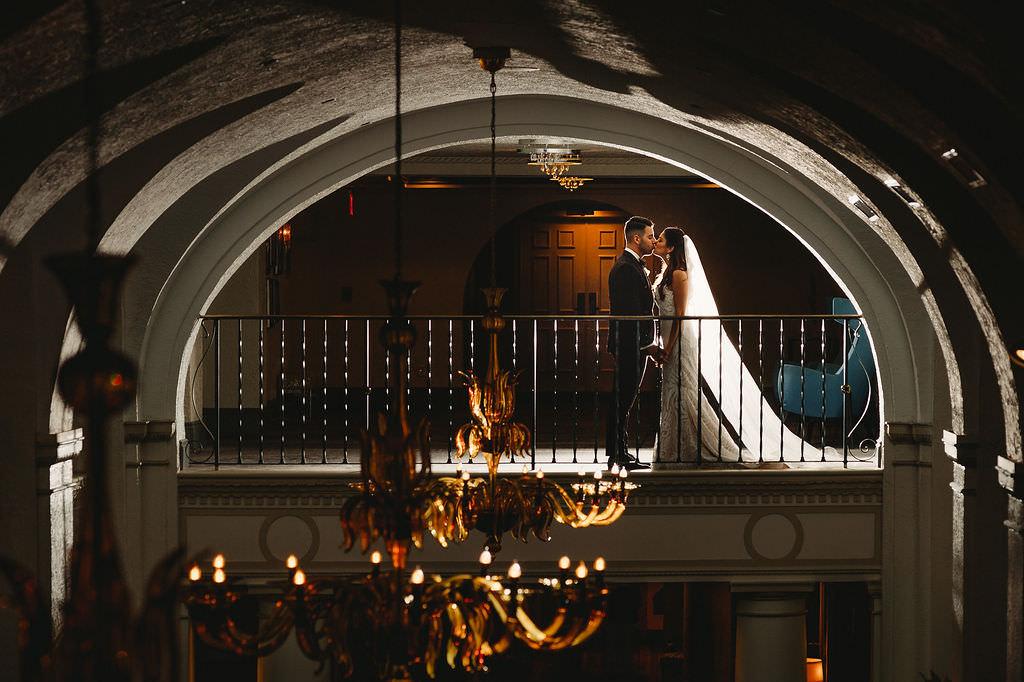 Florida Bride and Groom Wedding Portrait   Luxurious Downtown St. Pete Hotel Wedding Venue The Vinoy Renaissance